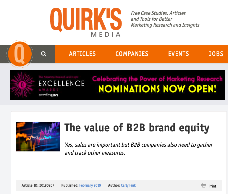 The value of B2B brand equity – Quirk's Media