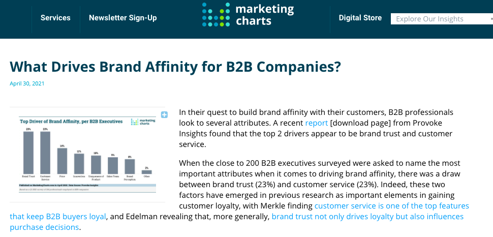 What Drives Brand Affinity for B2B Companies? – Marketing Charts